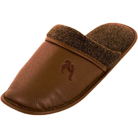 mens leather house slippers mens slippers slip on house shoes faux leather fleece scuff slide indoor outdoor ebay