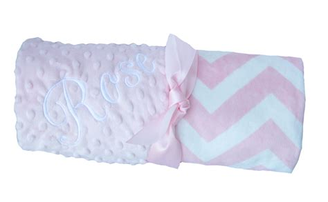 personalized blankets pink chevron personalized minky baby blanket