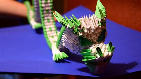 origami 3d dragon tutorial español 3d origami green chinese dragon of paper tutorial youtube