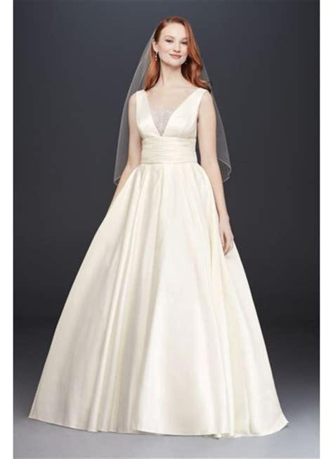 Satin Cummerbund Ball Gown Wedding Dress   Davids Bridal
