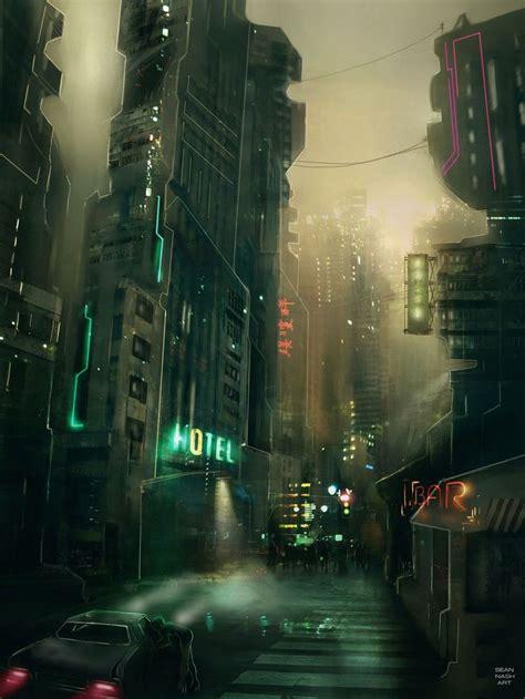 Cyberpunk City Concept Environment Sci Fi Concept Art | cyberpunk dark future cyber city concept art