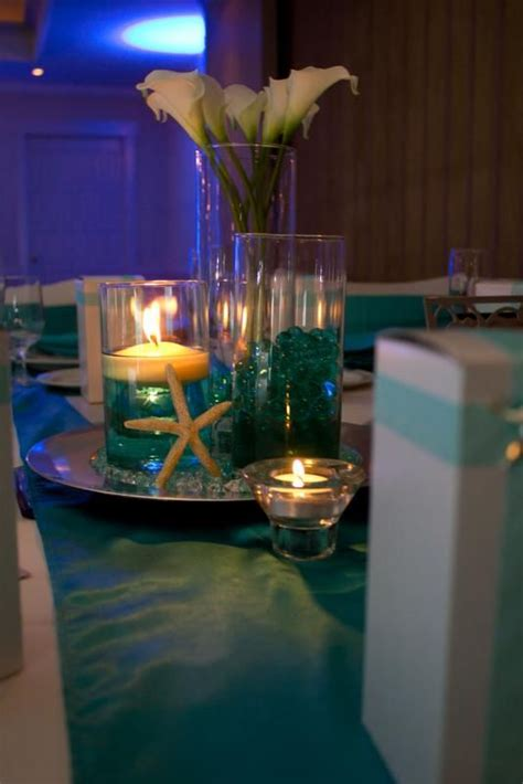 blue themed centerpieces formal beach themed wedding wedding aqua beach black