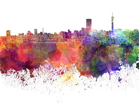 acrylic paint johannesburg johannesburg skyline in watercolor on white background