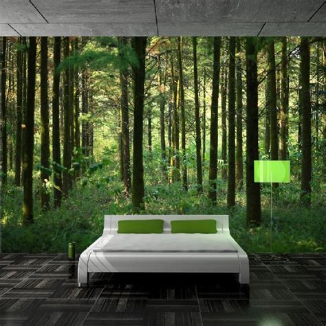 forest wallpaper for bedroom custom 3d green nature forest scenery photo wallpaper