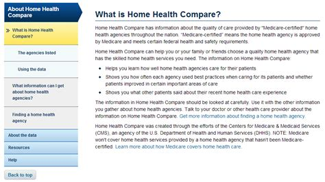 medicare gov home health compare help