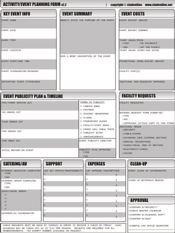 studentlinc event planning worksheet updated revised miscellaneous event planning