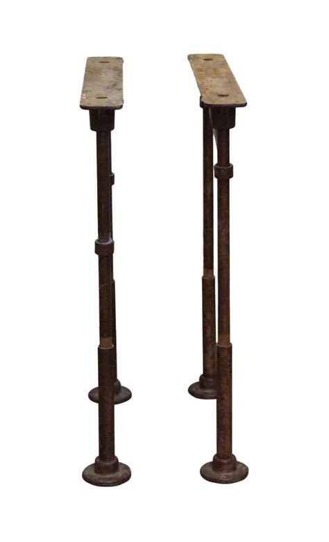 industrial cast iron table legs pair of vintage industrial pipe cast iron table legs