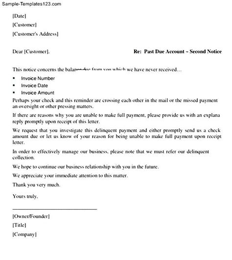 past due letter invoice letter template uk design