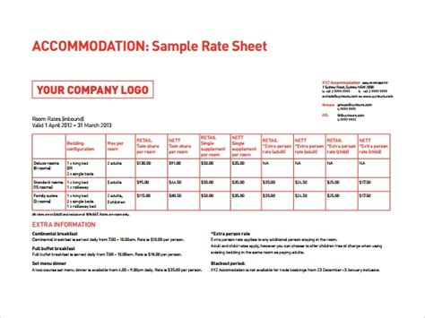 rate sheets templates 6 rate sheet templates sle templates