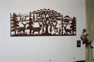 Large Rustic Wall Decor by Crafted Deer And Mountain With 4 Majestic Bucks