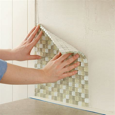 How To Tile A Kitchen Wall Backsplash Install A Kitchen Glass Tile Backsplash