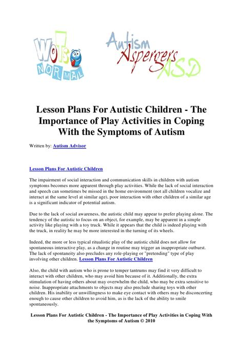autism lesson plan template lesson plans for autistic children the importance of play