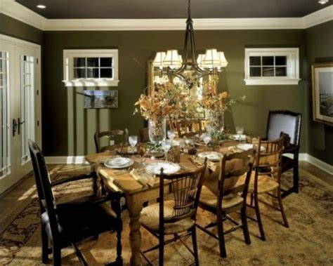 Houzz Green Dining Room Sherwin Williams Relentless Olive Dining Rooms