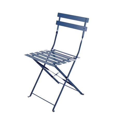 Metal Fold Up Chairs by 2 Metal Folding Garden Chairs In Blue Guinguette Maisons