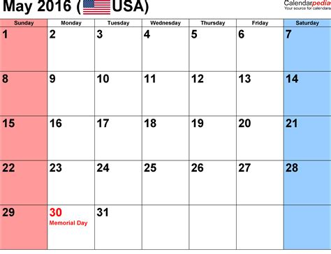 may 2016 weekly calendar printable printable calendar
