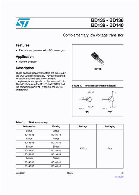 transistor bd140 16 bd140 10 4220849 pdf datasheet