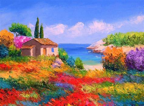 imagenes de paisajes oleo cuadros modernos pinturas y dibujos paisajes floridos