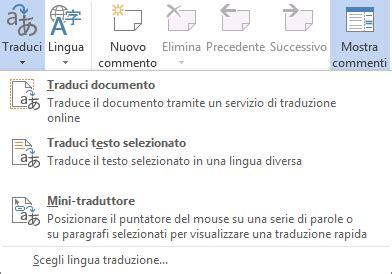 tradurre testo tradurre il testo in una lingua diversa supporto di office