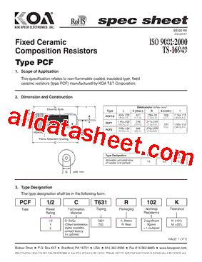 variable resistor 10k datasheet pdf pcf1c データシート pdf koa speer electronics inc
