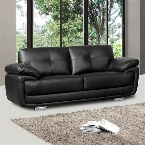 Newark Black Leather Sofa Collection With Pocket Sprung Black Sofa Leather