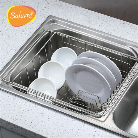 kitchen sink dish rack bowl rack shelf retractable sink drain basket sink