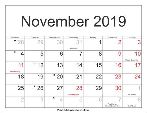 Calendar 2019 Printable With Holidays November 2019 Calendar Printable With Holidays Pdf And Jpg
