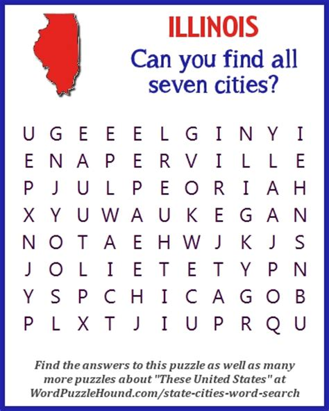 Illinois Search State Of Illinois Cities Word Search Word Puzzle Hound