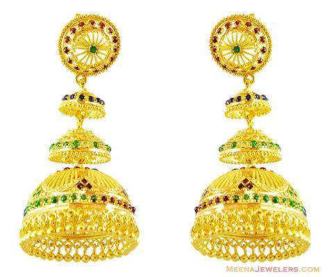 gold jhumka earrings design with price 22k meenakari chandelier earrings erfc14250 22kt gold