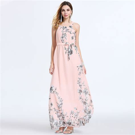 Dress Kerja Stylish New Impor 2018 new fashion s 4xl summer maxi dress o neck sleeveless bohemian chiffon