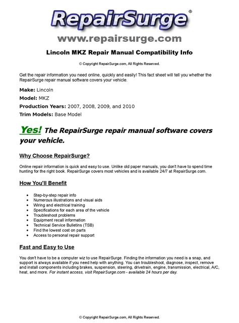 vehicle repair manual 2010 lincoln mkz electronic toll collection lincoln mkz online repair manual for 2007 2008 2009 and 2010 by repairsurge issuu