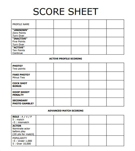 Gymnastics Judges Score Card Template by Basketball Score Sheet Pdf All Basketball Scores Info