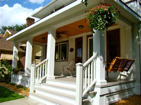 outdoor banister bungalow front porch porch traditional with ceiling light