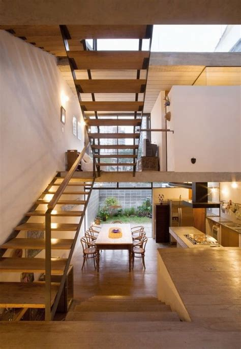 small modern house with split level interior design idea on 6 meter wide of lot home floating u shaped wooden stairs