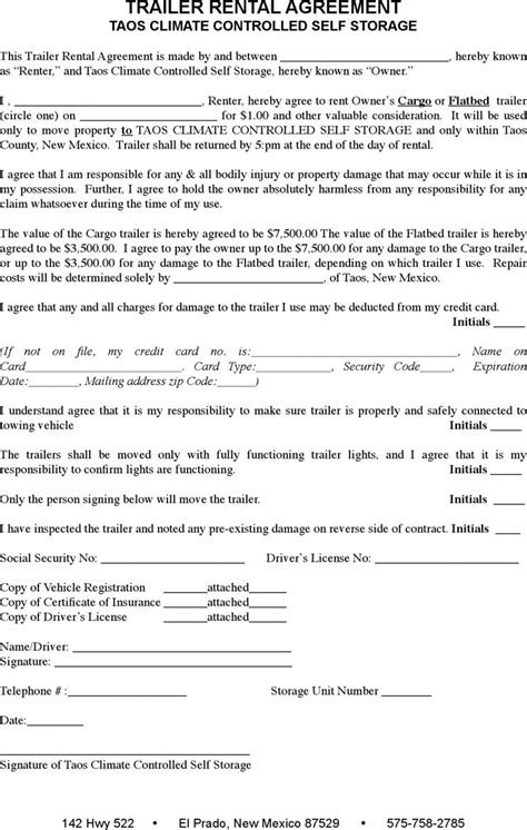 3 Trailer Rental Agreement Template Free Download Trailer Lease Agreement Template Free