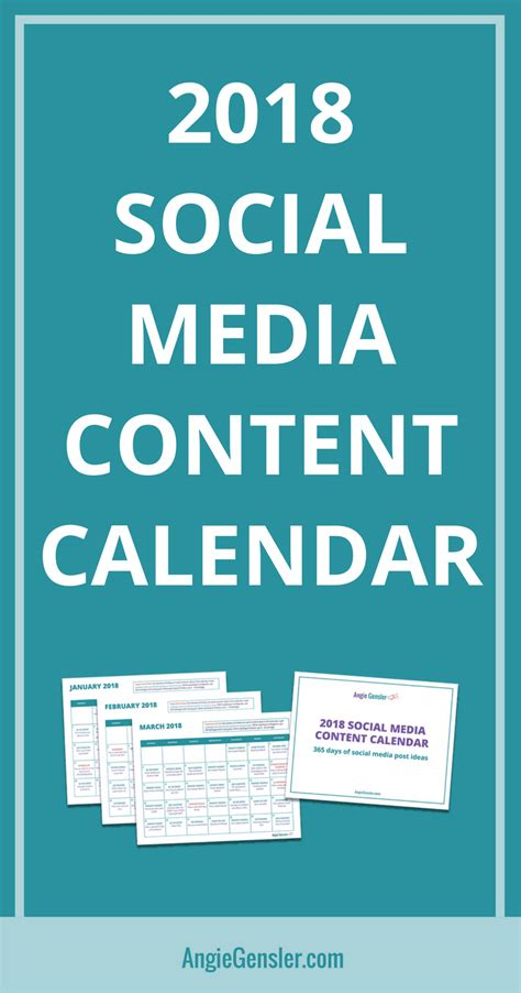 Get Your 2018 Social Media Content Calendar Angiegensler Com Social Media Calendar Template 2018