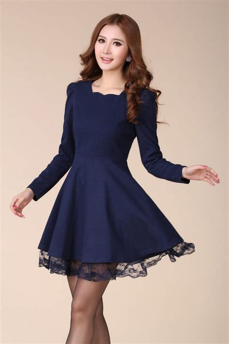 design fashion korea beautiful korean fashionable blue dress for valentine sday