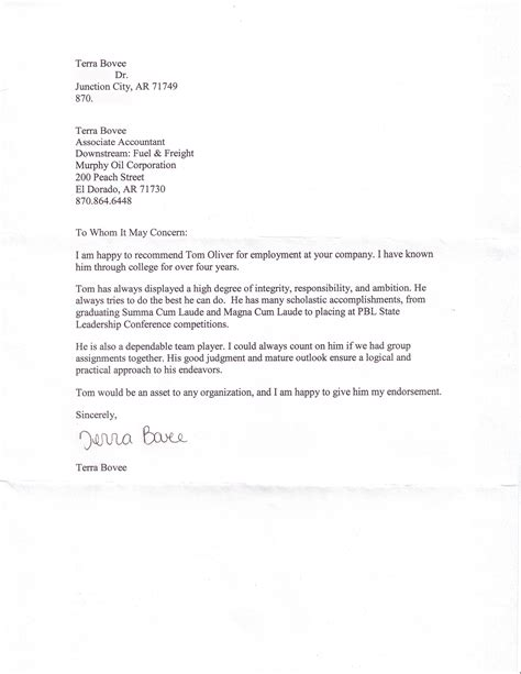 sample reference letter from employment for landlord within