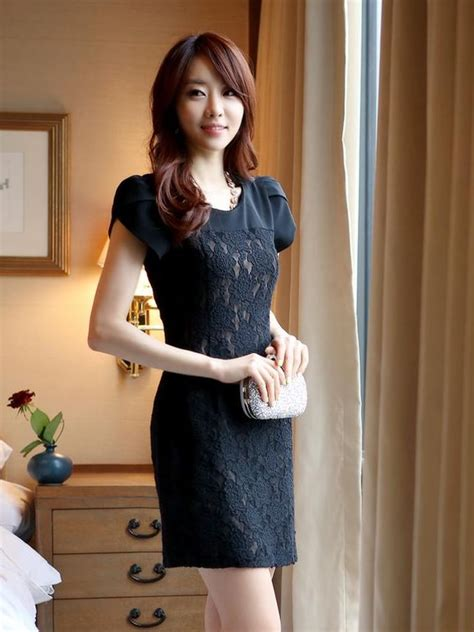 Anting Fashion Korea Braided Lace korean style petal sleeve lace black dress