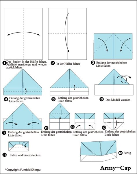 How To Make Origami Cap - army cap origami