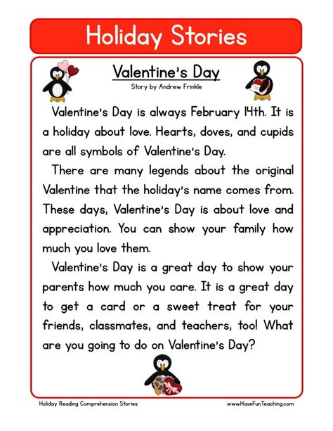 valentines day stories reading comprehension worksheet s day