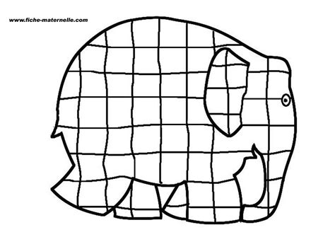 Elma The Patchwork Elephant - coloriage elephant elmer