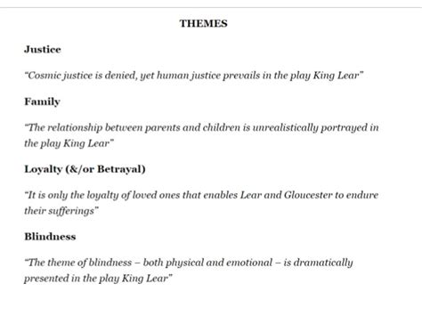 themes found in king lear king lear question inspiration
