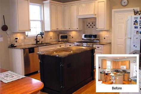 Refinishing Kitchen Cabinets Before And After Cabinet Refacing Before And After Kitchen Pinterest