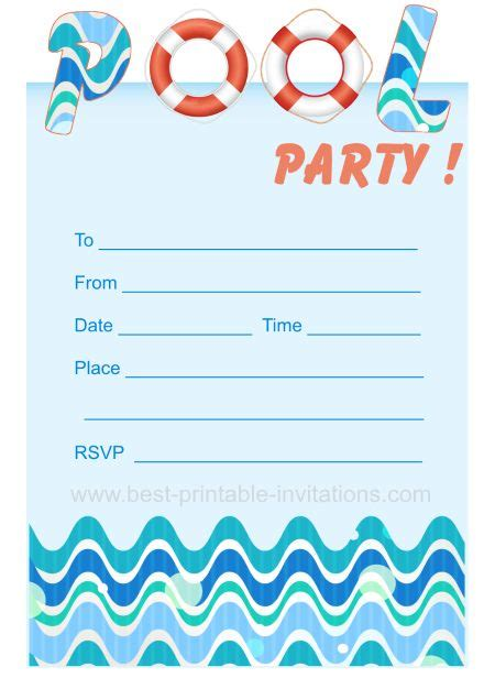printable children s party invitations free pool party invites free printable kids party invites