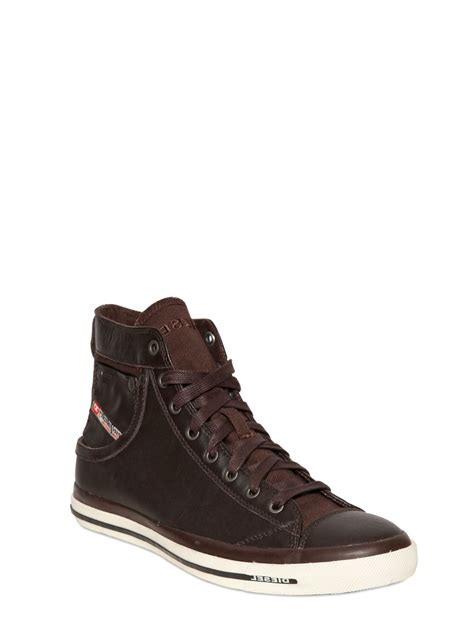 mens brown leather sneakers diesel leather high top sneakers in brown for lyst