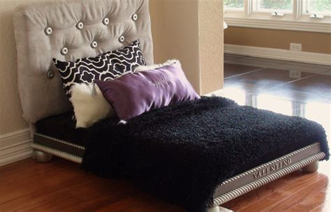 fancy dog beds luxury dog bed for the pered pup covered headboard mattress pillows and blanket
