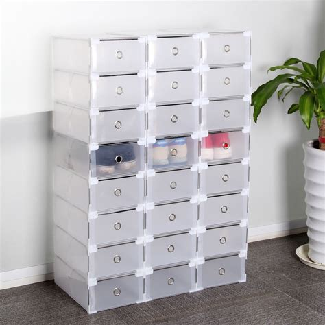 stackable storage boxes with drawers 24 foldable clear plastic shoe box drawer stackable home