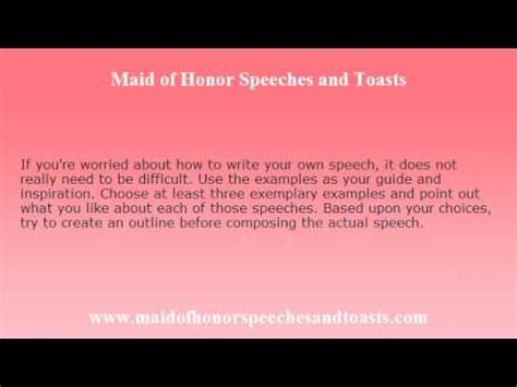 Maid Of Honor Speech Sles Use Them As Inspiration Youtube Of Honor Speech Template