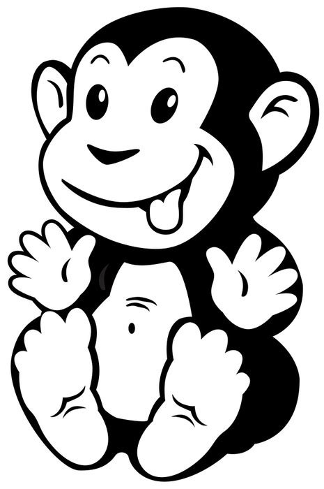 imagenes para dibujar negro y blanco vinilo pixerstick blanco negro de dibujos animados mono