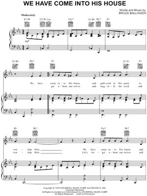 we have come into his house bruce ballinger sheet music to download and print world
